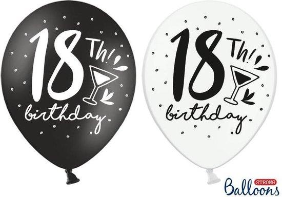 Strong Ballonnen 30cm, 18th! Birthday, mix (1 zakje met 50 stuks