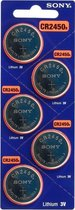 Blister van 5 stuks - Sony CR2450 lithium knoopcel batterij - DL2450, ECR2450, 2450