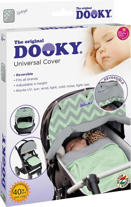 Dooky Universal Cover - Reversible Design - Mint/Grey Chevron
