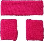 Neon zweetband hoofd en pols roze