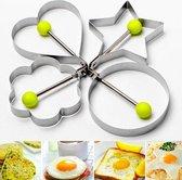 Ei vormpje - Omelette mal - Maakt het ontbijt vrolijk! - Kookgereedschap - RVS - eitje bakken - Pannenkoek vorm - Decoratie vorm - Hart - ster - bloem - rond - keukenapparaat- Ei en pannenkoek ring