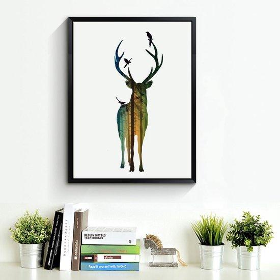 Bol Com Postercity Design Canvas Poster Hert In Het Gekleurde Bos Kinderkamer
