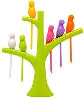Cocktailprikkers boom met 6 vogels kunststof  - LeuksteWinkeltje