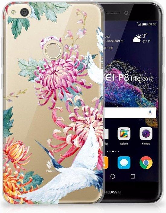 Huawei P8 Lite 2017 Uniek TPU Hoesje Bird Flowers
