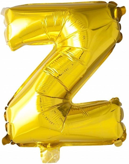 Folie Ballon Letter Z Goud 41cm met rietje