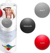 Trendy Sport Massageballen - Tres Forca - set van 3 ballen  - Trigger point therapie ballen - 3 verschillende hardheden - Zacht - Middel - Hard