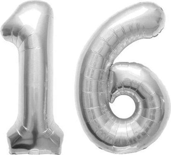 Cijfer 16 Zilver Folieballon 86 cm Excl. Helium