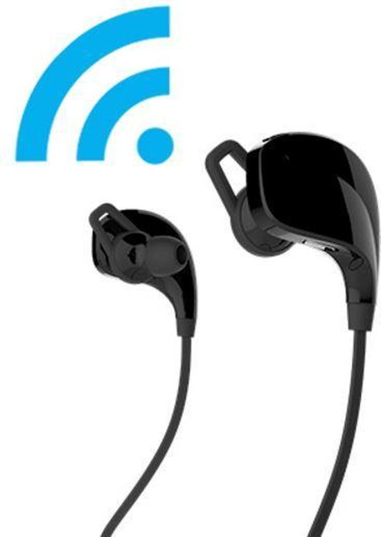 eTIGER draadloze bluetooth sport koptelefoon MUSE - met ingebouwde microfoon - zwart