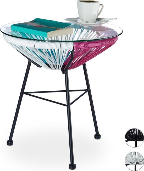 Klein Design Bijzettafeltje.Bol Com Relaxdays Bijzettafel Raya Balkon Rond Tuintafel Glas