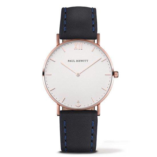 Paul Hewitt Sailor Line PH-SA-R-SM-W-11M – Horloge – Leer – Blauw – 36 mm