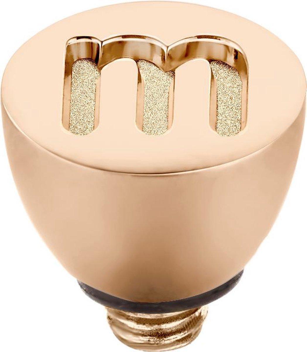 Melano Twisted steentje - letter M - dames - rosekleurig - 6 mm - Melano Jewelry