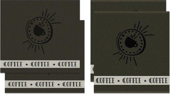 DDDDD Hello Coffee - Thee- en Keukendoeken Set - Army - 2 x 2 Stuks