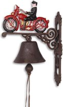 gietijzeren deurbel met motorrijder biker - gietijzer - bel