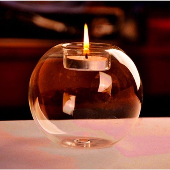 LeuksteWinkeltje glazen staande bal 8 cm - glas waxinelichthouder decoratie