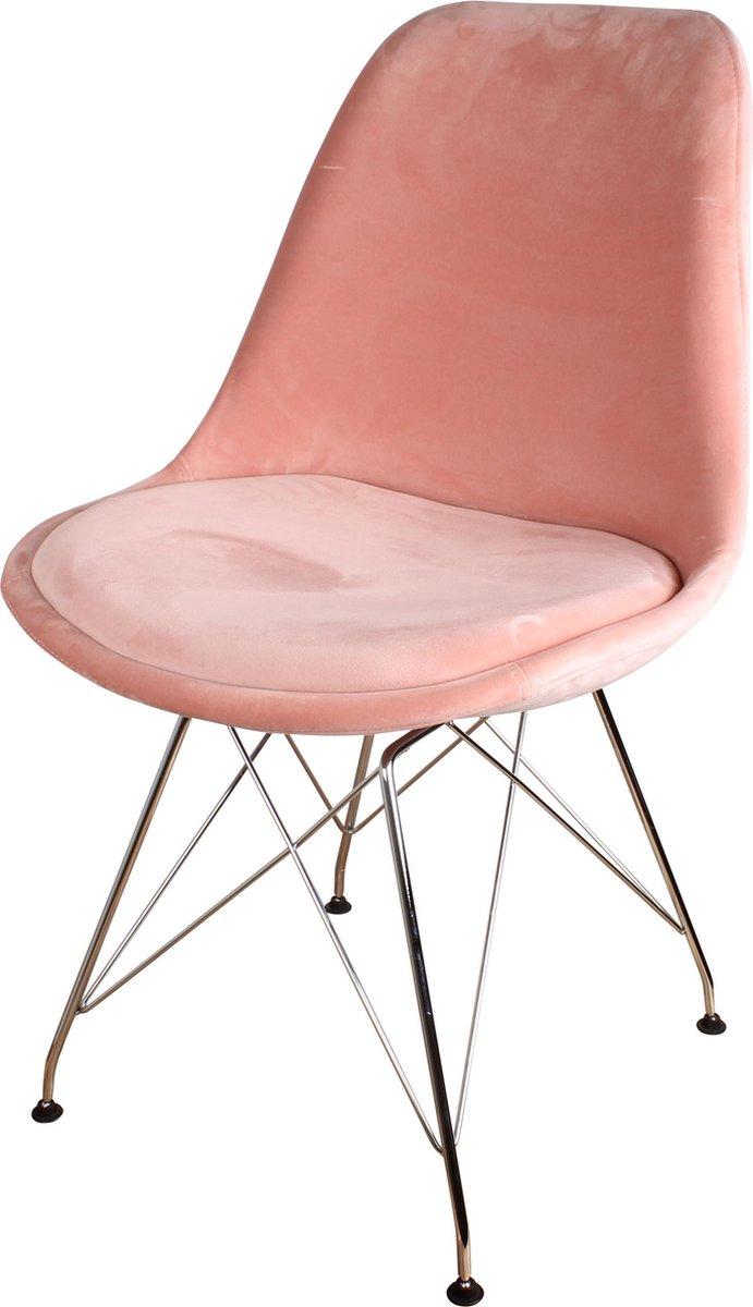 DS4U eetkamerstoel - Velvet - roze - chromen frame - DS4U