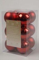 Decoris  kerstballen - 12 stuks - Kunststof - 6cm
