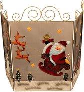 Decoratief Haardscherm met 3 panelen - Kerst - Rendier en sneeuwpop