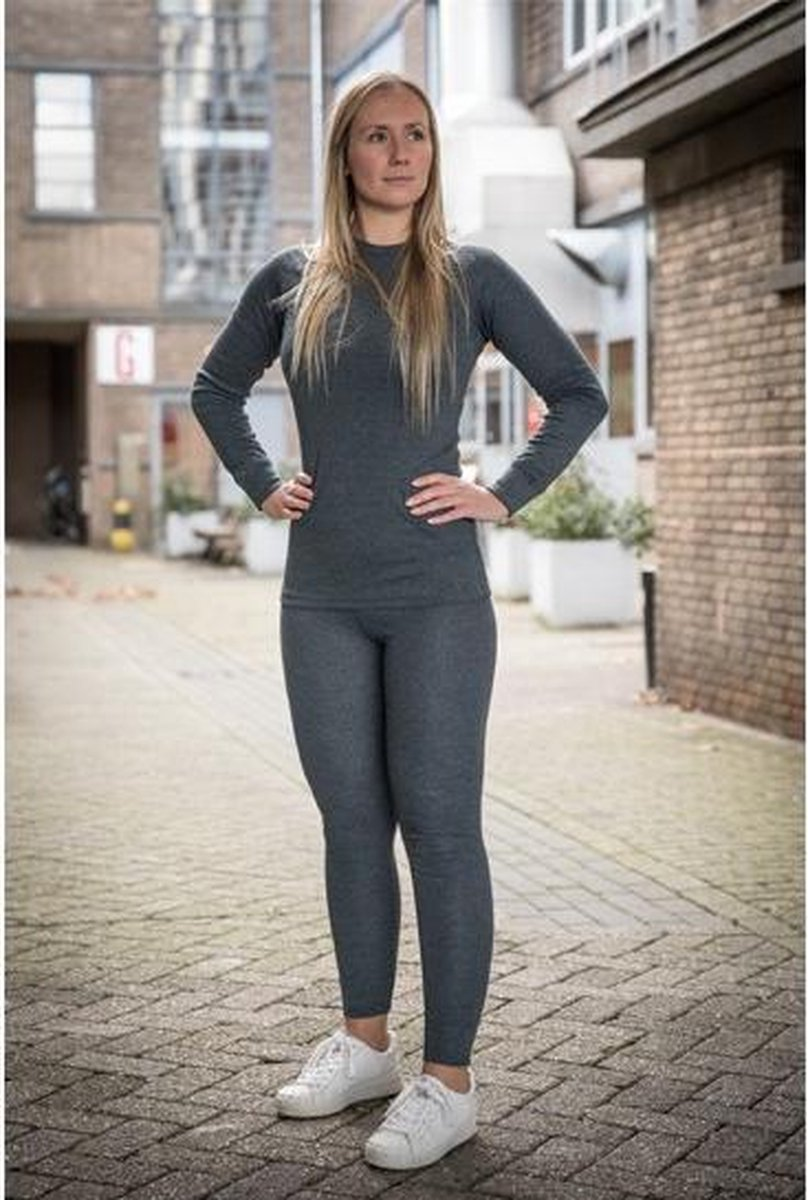 Thermokleding - Dames - Maat M - Shirt+Broek - Thermowear - Thermoset - Antraciet - Winterset