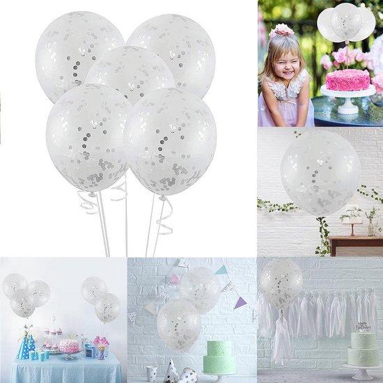 Transparante Confetti Ballonen Set 30 CM Groot - Grote Doorzichtige Latex Party Balonnen - Baby Shower Bruiloft Verjaardag Feestje - 25 Stuks - Zilver