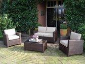Mooie compacte loungeset met 2-persoons bank, een tafel en 2 stoelen.