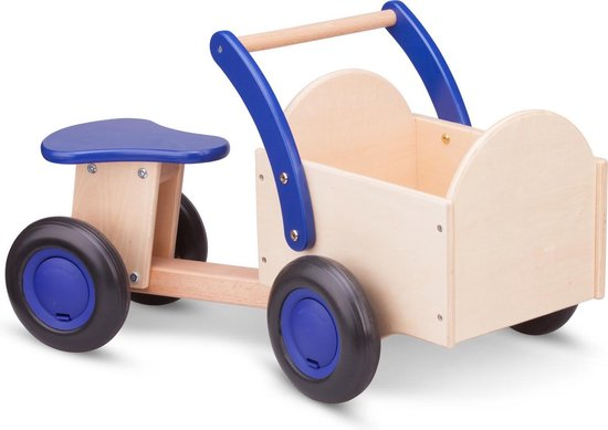 New Classic Toys - Bakfiets - Road Star - Blank/Blauw - Zadelhoogte is 24 centimeter