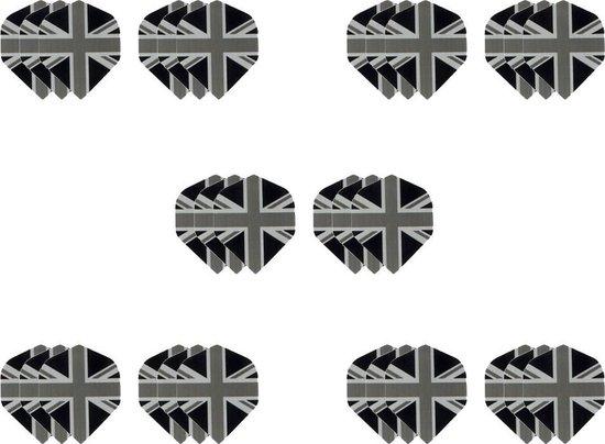 Afbeelding van het spel 10 sets (30 stuks) Dragon dart Britse vlag zwart grijs – dart flights – darts flights