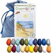Crayon Rocks - ecologische niet giftige waskrijtjes, pengreep stimulerend - 20 kleuren in een blauw-wit geruiten zakje [zomer editie]