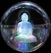 Kristal ontstoor bol 3D Boeddha 10 cm