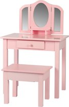 Kaptafel visagie make up meisje opmaaktafel kinderkamer met spiegels en krukje roze