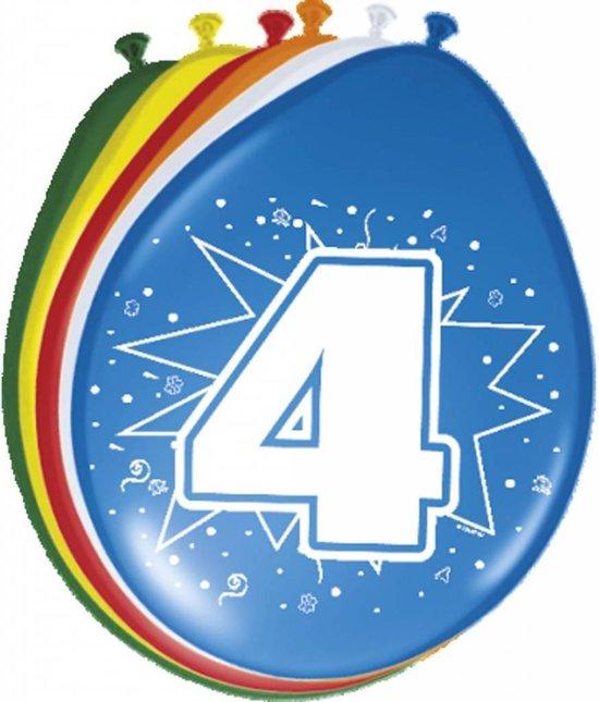 Ballonnen ster 30 cm: 4 jaar - 8 stuks (08204)