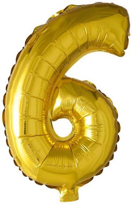 Folie Ballon Cijfer 6 Goud XL 86cm leeg