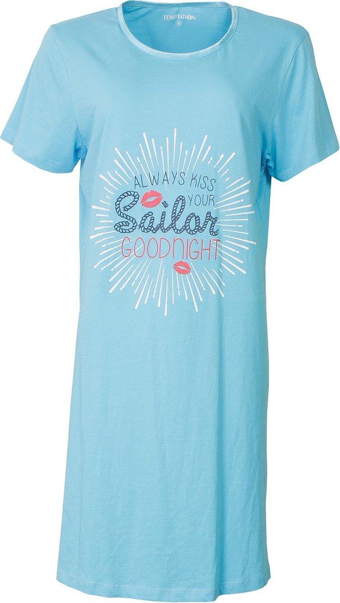 Temptation Dames Bigshirt nachthemd slaapkleed Licht Blauw TPNGD1818A Maten: L