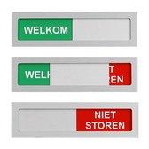 Schuifbordje Welkom - Niet Storen. Deurbordje Welkom Niet Storen - 100 mm x 28 mm - Met maar 4 mm dikte geen blok op je deur - Promessa-Design