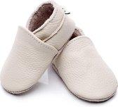 Leren Baby Slofjes - Ecru - Zandkleur - 6 tot 12 Maanden - Leer - Babyschoenen - Jongen - Meisje - Kraamkado - Babyshower