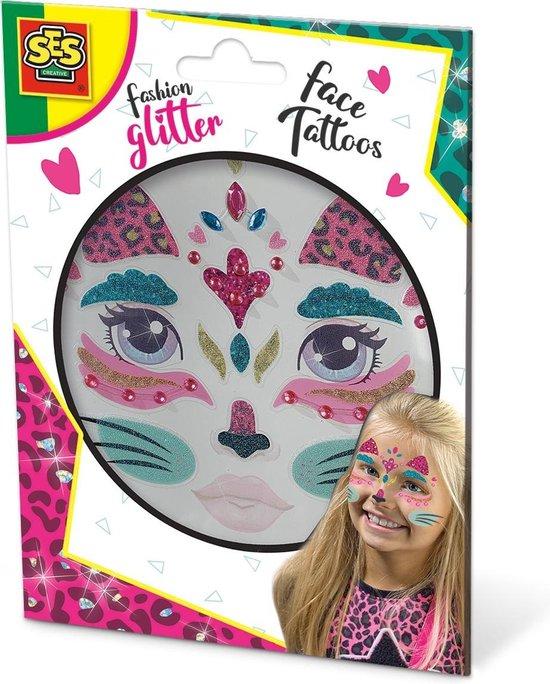 SES Fashion Glitter Gezicht Tattoo Kat