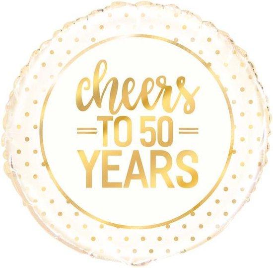 Cheers to 50 years helium folie ballon |goud| 45.7cm