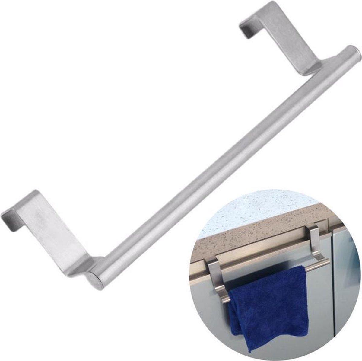 QUVIO Theedoekhouder RVS / Past op panelen van max. 1.8 cm / Makkelijke montage op een keukenkastdeur / Stalen handdoekhouder voor in de keuken - RVS