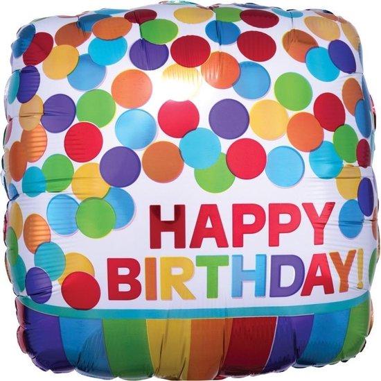 Helium Ballon Happy Birthday Stip Vierkant 43cm leeg