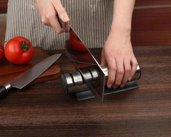 Messenslijper- Mes- Doortrekslijper- Antislip - Zwart- Handig- Keuken-Koken-Tafelen