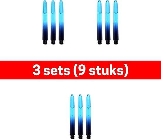 Dragon darts - Vignette – 3 sets (9 stuks) - darts shafts - zwart-aquablauw - short – dart shafts - dartshafts