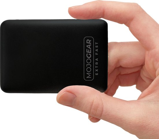 Afbeelding van MOJOGEAR MINI EXTRA FAST Powerbank - de allerkleinste 10.000 mAh Externe Batterij Accu - met Quick Charge 3.0 (voor Android-toestellen) en USB-Power Delivery (voor iPhone) - 3 apparaten tegelijk opladen - Zwart