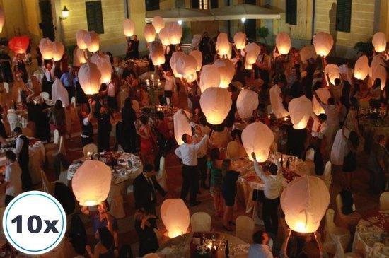 10 x Luxe Witte Wens Ballon vliegende papieren lantaarns ufo ballon zweeflantaarn wensballonnen: VOLANTERNA®