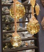 Kerstbal met led verlichting - Goud 12cm