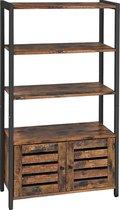 Opbergkast met deuren | boekenkast hout 3 planken 2 ventilatiedeuren | industrieel | 70x30x121,5cm