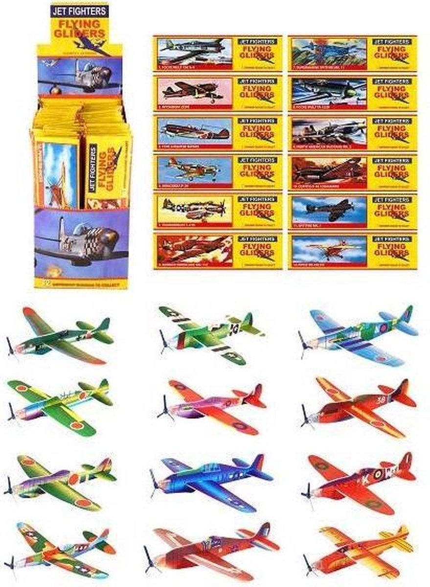 48 STUKS | Uitdeelcadeautjes - Fighter Gliders - Model: Foam Vliegtuigen (48 stuks)