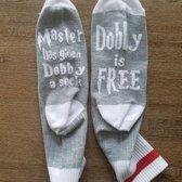 Harry Potter sokken met tekst - Dobby is Free - Grijs met rode band