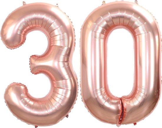 Folie Ballon Cijfer 30 Jaar Rosé Goud 86Cm Verjaardag Folieballon Met Rietje