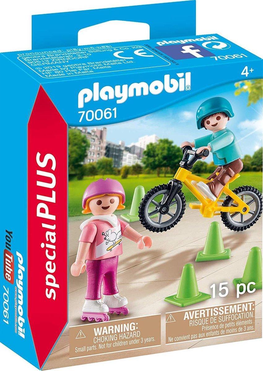 PLAYMOBIL Kinderen met fiets en skates - 70061