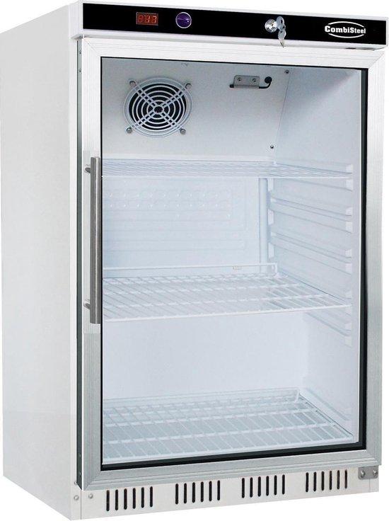 Koelkast: HorecaTraders koelkast met 1 glazen deur   510(b)x485(d)x620(h) cm   Wit, van het merk Combisteel