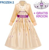 Frozen 2 Anna jurk geel-goud paars 104-110 (110) + GRATIS kroon Prinsessen jurk verkleedkleding